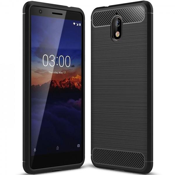 Safers Carbon Hülle für Nokia 3.1 Schutzhülle Handy Case Hybrid TPU Cover