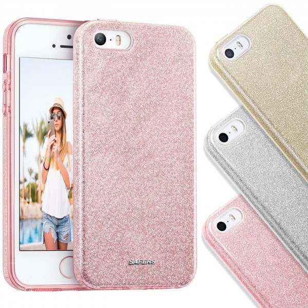 Safers Shiny für Apple iPhone 5 / 5S / SE Hülle Glitzer Cover TPU Schutzhülle