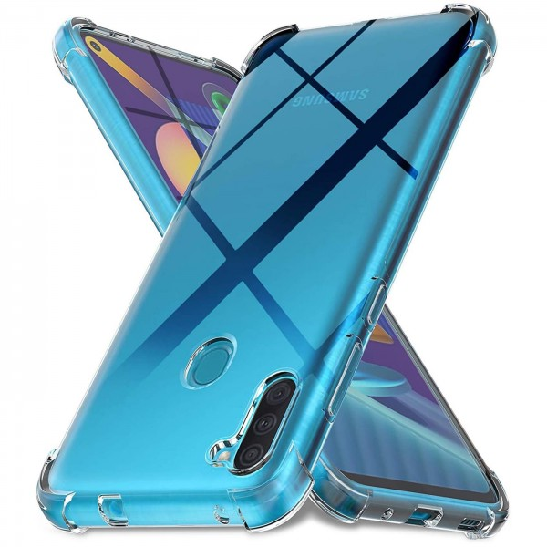Safers Rugged TPU für Samsung Galaxy M11 Schutzhülle Anti Shock Handy Case Transparent Cover