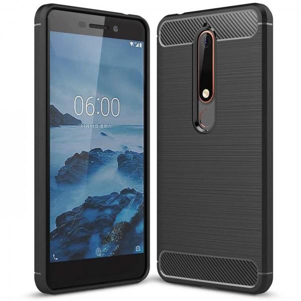 Safers Carbon Hülle für Nokia 6.1 Schutzhülle Handy Case Hybrid TPU Cover