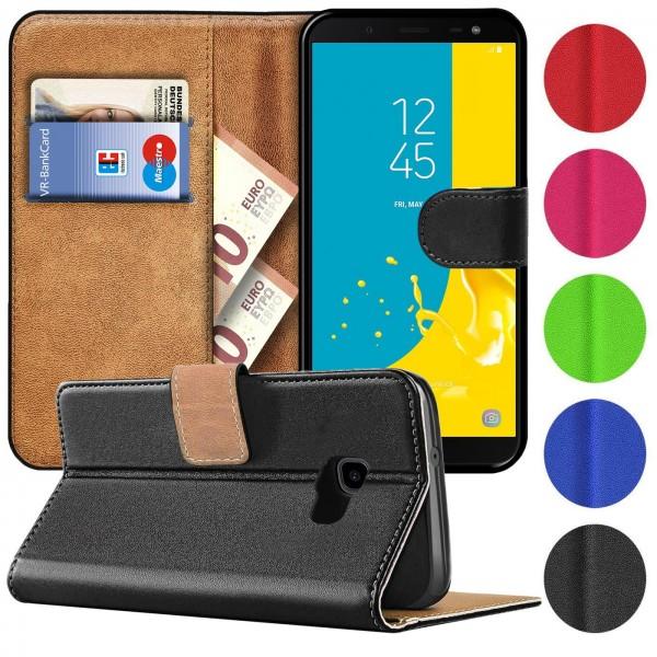 Safers Basic Wallet für Samsung Galaxy J4 Plus Hülle Bookstyle Klapphülle Handy Schutz Tasche