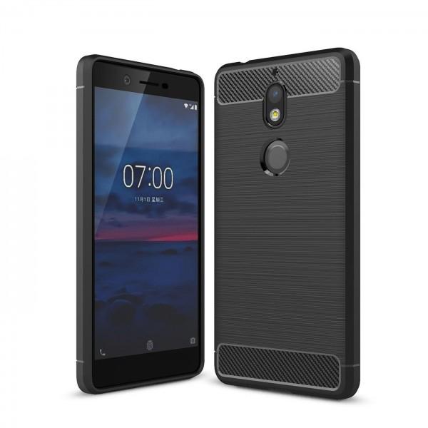 Safers Carbon Hülle für Nokia 7 Schutzhülle Handy Case Hybrid TPU Cover