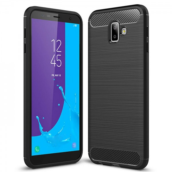 Safers Carbon Hülle für Samsung Galaxy J6 Plus Schutzhülle Handy Case Cover