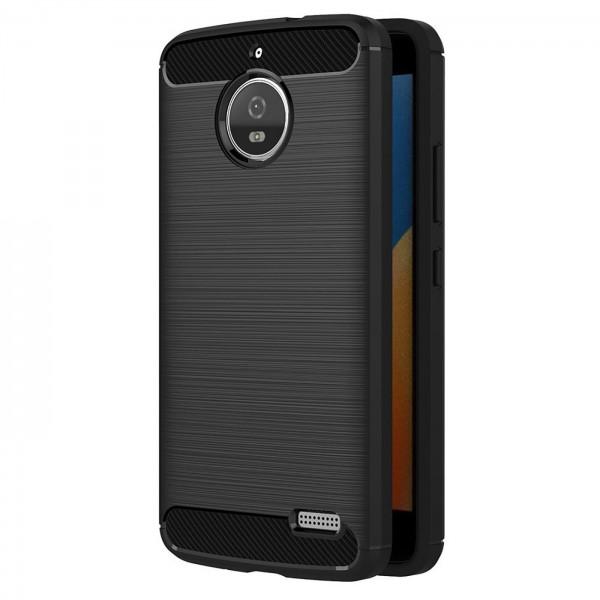 Safers Carbon Hülle für Motorola Moto E4 Schutzhülle Handy Case Cover