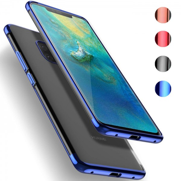 Safers Color Hülle für Huawei Mate 20 Pro Case Silikon Cover Transparent mit Farbrand Handyhülle