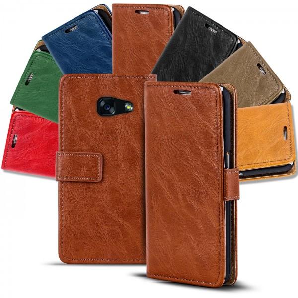 Safers Retro Tasche für Samsung Galaxy A3 2017 Hülle Wallet Case Handyhülle Vintage Slim Cover