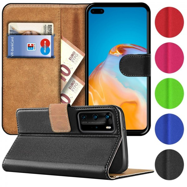 Safers Basic Wallet für Huawei P40 Pro Hülle Bookstyle Klapphülle Handy Schutz Tasche