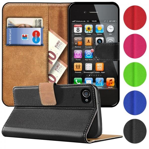 Safers Basic Wallet für iPhone 4 / 4S Hülle Bookstyle Klapphülle Handy Schutz Tasche