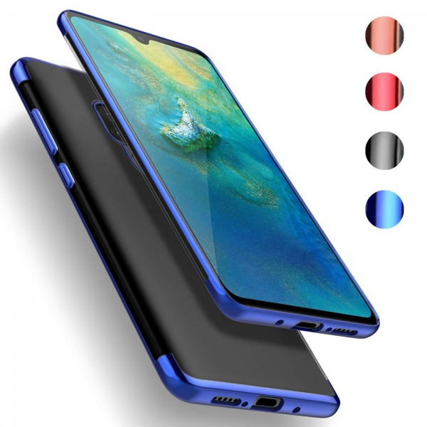 Safers Color Hülle für Huawei Mate 20 Case Silikon Cover Transparent mit Farbrand Handyhülle