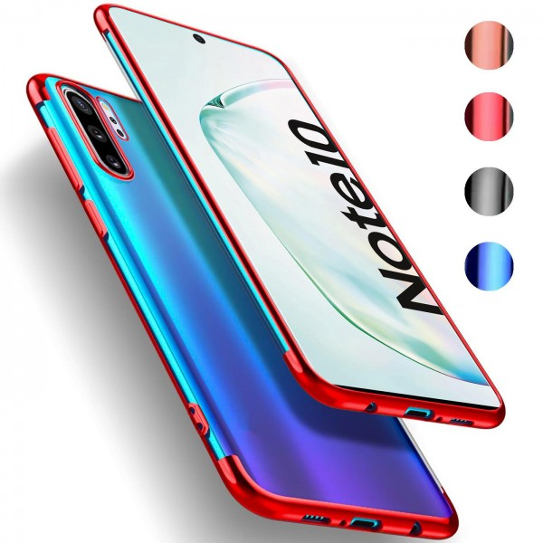 Safers Color Hülle für Samsung Galaxy Note 10 Case Silikon Cover Transparent mit Farbrand Handyhülle