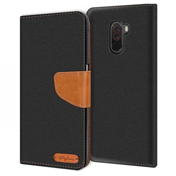 Safers Textil Wallet für Xiaomi Pocophone F1 Hülle Bookstyle Jeans Look Handy Tasche
