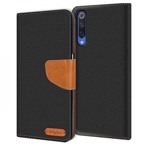 Safers Textil Wallet für Xiaomi Mi 9 SE Hülle Bookstyle Jeans Look Handy Tasche