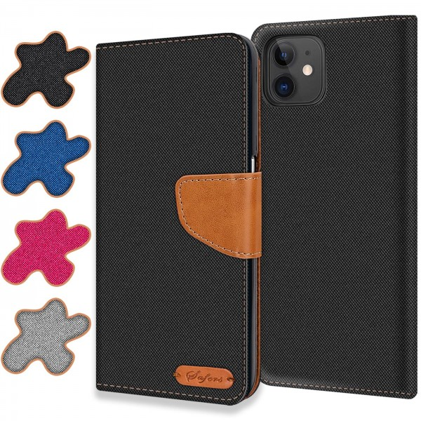 Safers Textil Wallet für Apple iPhone 12 Mini (5.4) Hülle Bookstyle Jeans Look Handy Tasche