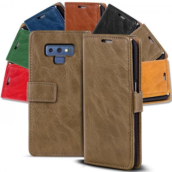 Safers Retro Tasche für Samsung Galaxy Note 9 Hülle Wallet Case Handyhülle Vintage Slim Cover