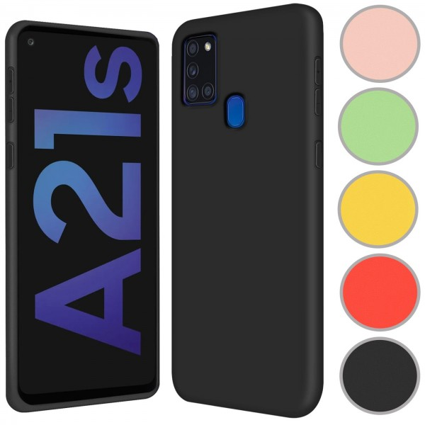 Safers Color TPU für Samsung Galaxy A21s Hülle Soft Silikon Case mit innenliegendem Stoffbezug
