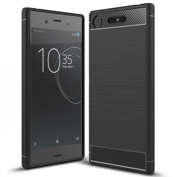 Safers Carbon Hülle für Sony Xperia XZ1 Schutzhülle Handy Case Cover