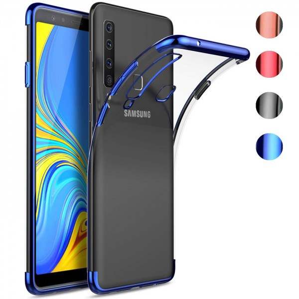 Safers Color Hülle für Samsung Galaxy A9 2018 Case Silikon Cover Transparent mit Farbrand Handyhülle
