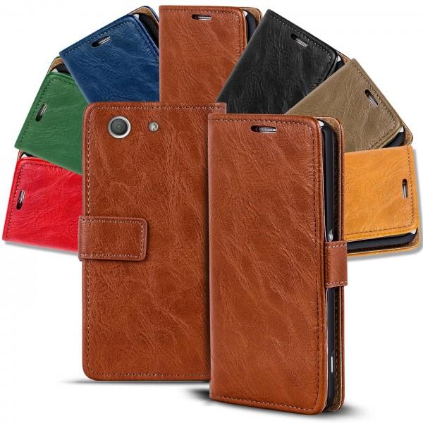 Safers Retro Tasche für Sony Xperia Z3 Compact Hülle Wallet Case Handyhülle Vintage Slim Cover