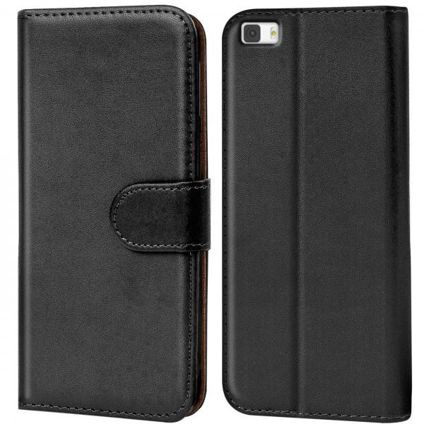 Safers Basic Wallet für Huawei P8 Lite Hülle Bookstyle Klapphülle Handy Schutz Tasche