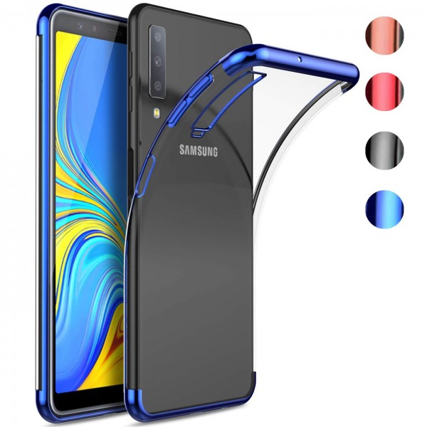 Safers Color Hülle für Samsung Galaxy A7 2018 Case Silikon Cover Transparent mit Farbrand Handyhülle