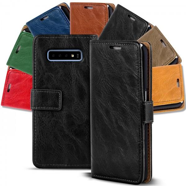 Safers Retro Tasche für Samsung Galaxy S10 Plus Hülle Wallet Case Handyhülle Vintage Slim Cover