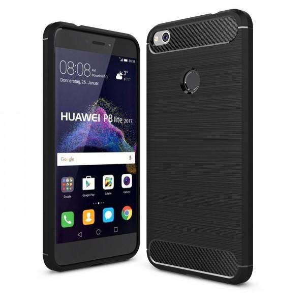 Safers Carbon Hülle für Huawei P8 Lite 2017 Schutzhülle Handy Case Cover