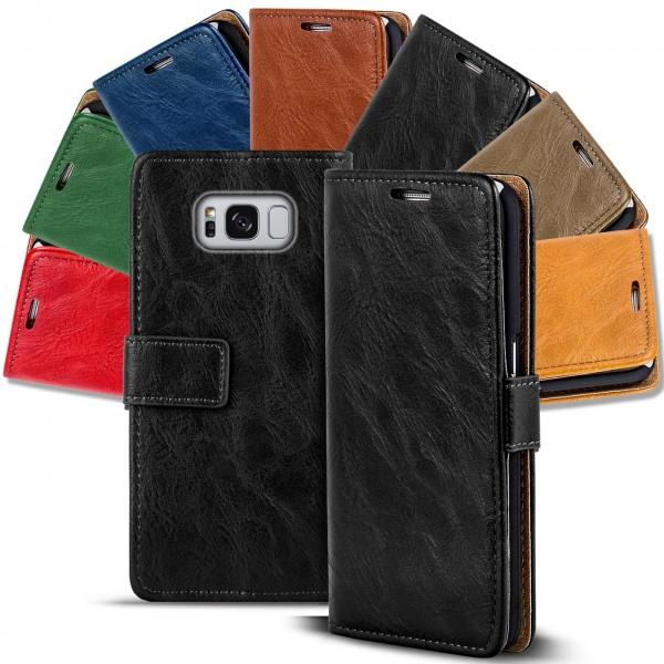Safers Retro Tasche für Samsung Galaxy S8 Plus Hülle Wallet Case Handyhülle Vintage Slim Cover