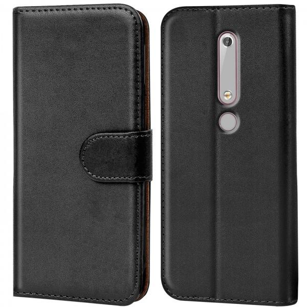 Safers Basic Wallet für Nokia 6.1 Hülle Bookstyle Klapphülle Handy Schutz Tasche