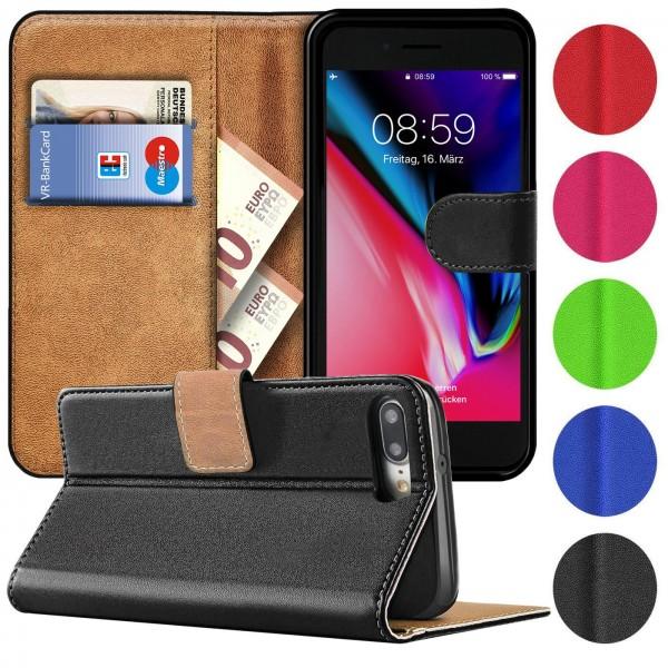 Safers Basic Wallet für iPhone 7 Plus / 8 Plus Hülle Bookstyle Klapphülle Handy Schutz Tasche