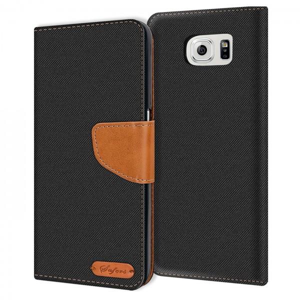 Safers Textil Wallet für Samsung Galaxy S6 Edge Plus Hülle Bookstyle Jeans Look Handy Tasche