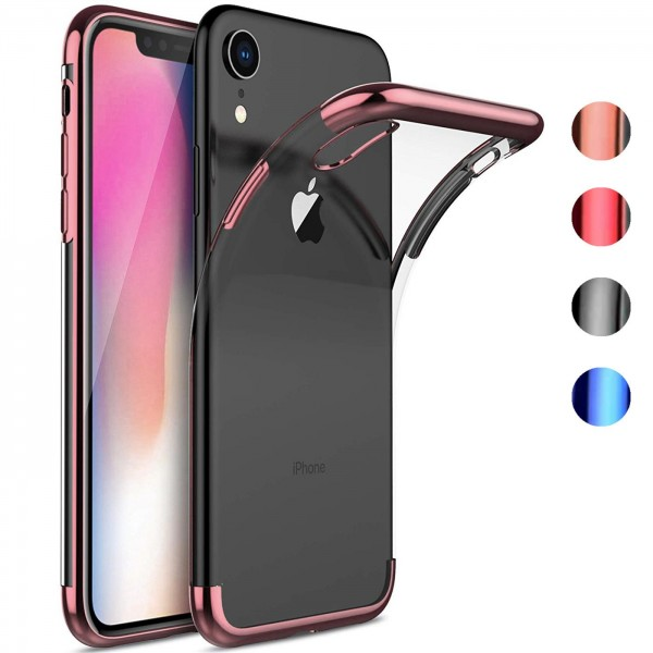 Safers Color Hülle für Apple iPhone XR Case Silikon Cover Transparent mit Farbrand Handyhülle