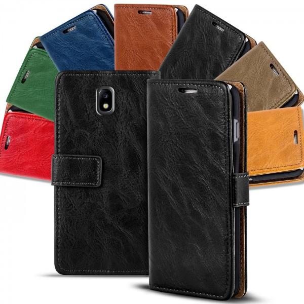 Safers Retro Tasche für Samsung Galaxy J3 2017 Hülle Wallet Case Handyhülle Vintage Slim Cover