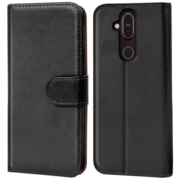 Safers Basic Wallet für Nokia 8.1 Hülle Bookstyle Klapphülle Handy Schutz Tasche
