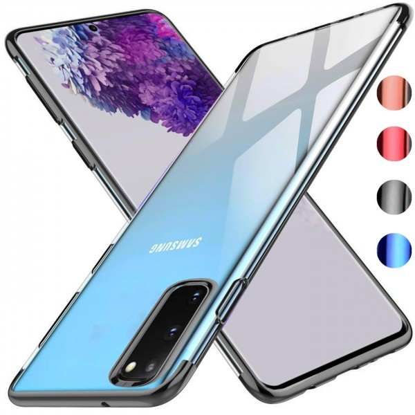 Safers Color Hülle für Samsung Galaxy S20 Case Silikon Cover Transparent mit Farbrand Handyhülle