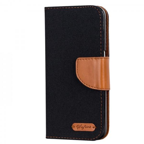 Safers Textil Wallet für Xiaomi Mi 9 Hülle Bookstyle Jeans Look Handy Tasche