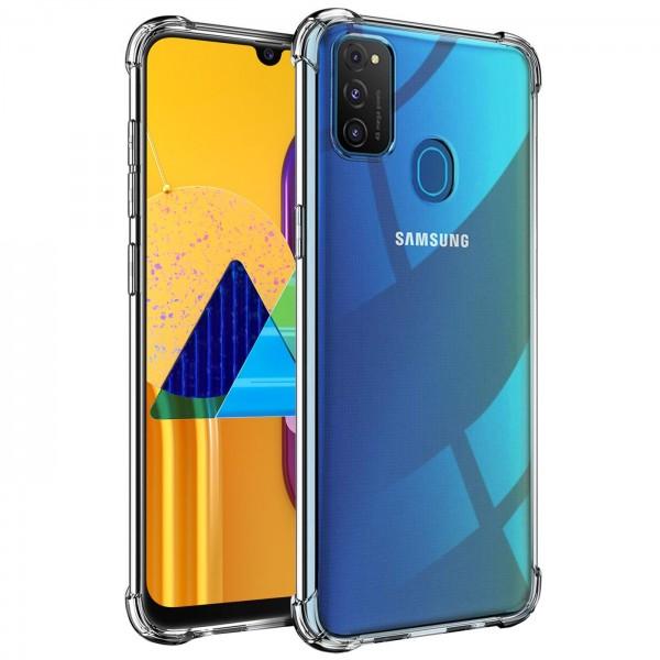 Safers Rugged TPU für Samsung Galaxy M31 Schutzhülle Anti Shock Handy Case Transparent Cover