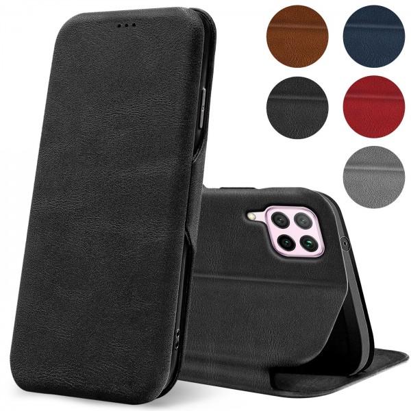 Safers Shell Flip für Huawei P40 Lite Hülle Premium Bookstyle Case Handyhülle Vintage Look Tasche