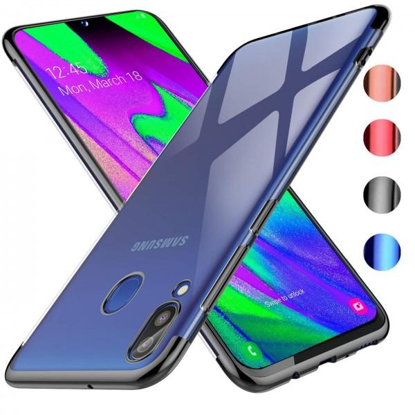 Safers Color Hülle für Samsung Galaxy A40 Case Silikon Cover Transparent mit Farbrand Handyhülle