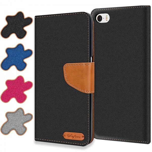 Safers Textil Wallet für Apple iPhone 4 / 4S Hülle Bookstyle Jeans Look Handy Tasche