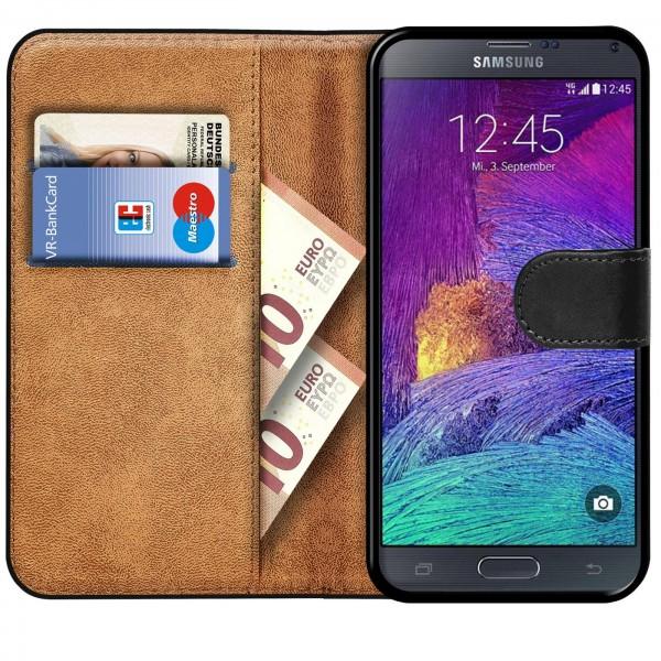 Safers Basic Wallet für Samsung Galaxy Note 4 Hülle Bookstyle Klapphülle Handy Schutz Tasche