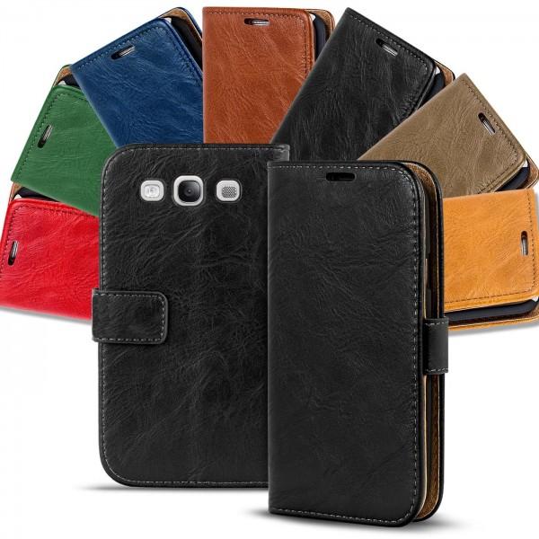 Safers Retro Tasche für Samsung Galaxy S3 Hülle Wallet Case Handyhülle Vintage Slim Cover