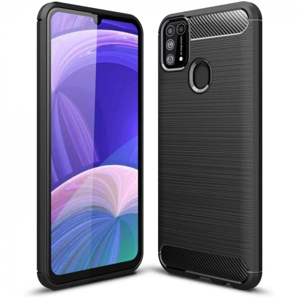 Safers Carbon Hülle für Samsung Galaxy M30s M21 Schutzhülle Handy Case Cover