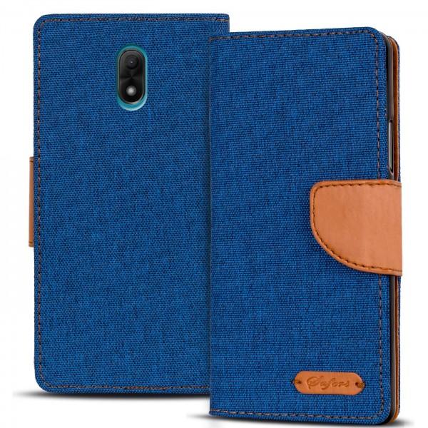 Safers Textil Wallet für Wiko Lenny 5 Hülle Bookstyle Jeans Look Handy Tasche