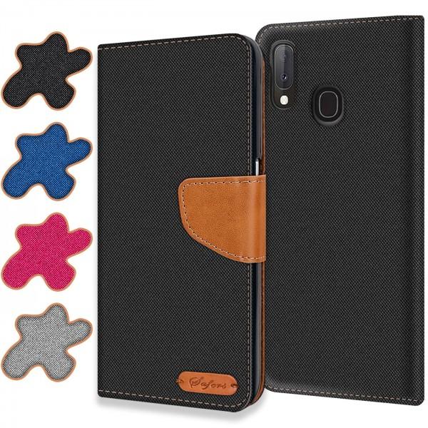 Safers Textil Wallet für Samsung Galaxy A40 Hülle Bookstyle Jeans Look Handy Tasche