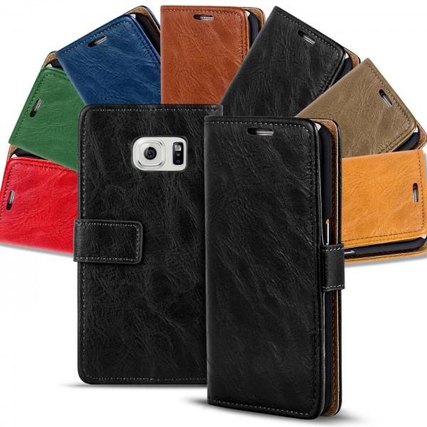 Safers Retro Tasche für Samsung Galaxy S6 Edge Hülle Wallet Case Handyhülle Vintage Slim Cover