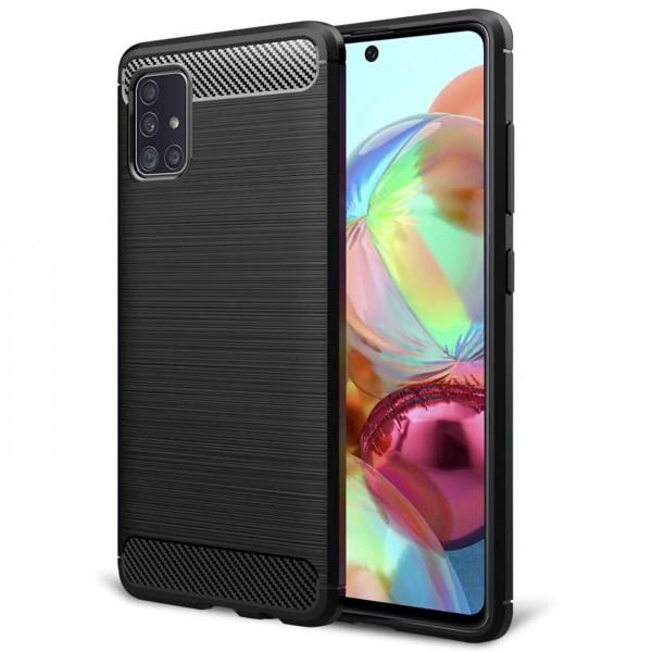 Safers Carbon Hülle für Samsung Galaxy A71 Schutzhülle Handy Case Cover