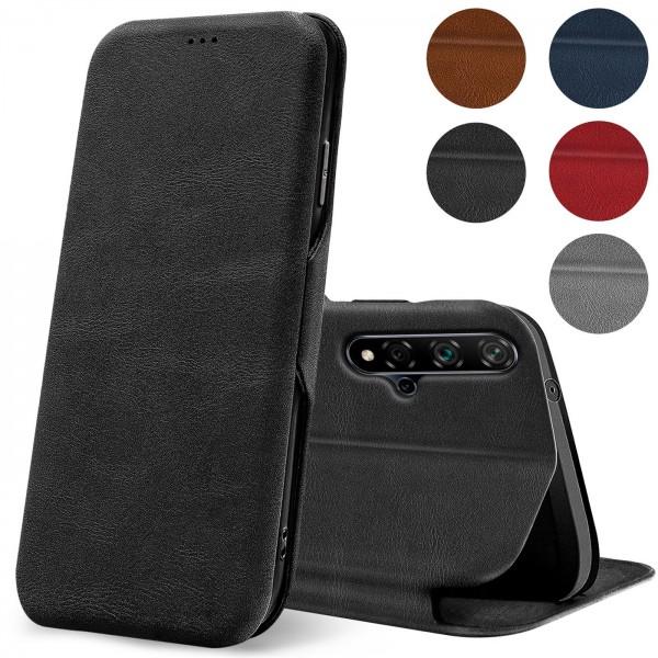 Safers Shell Flip für Huawei Nova 5T Hülle Premium Bookstyle Case Handyhülle Vintage Look Tasche