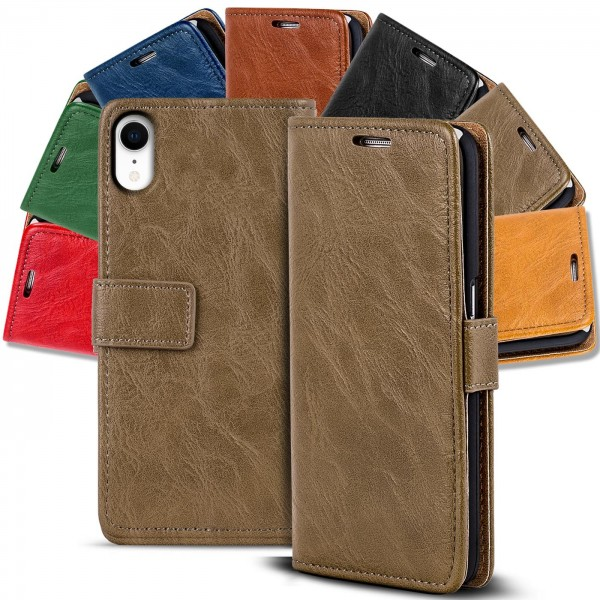 Safers Retro Tasche für iPhone XR Hülle Wallet Case Handyhülle Vintage Slim Cover