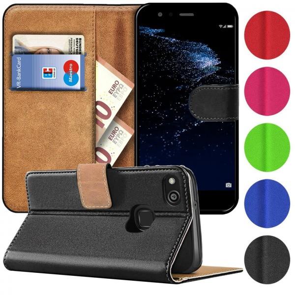 Safers Basic Wallet für Huawei P10 Lite Hülle Bookstyle Klapphülle Handy Schutz Tasche
