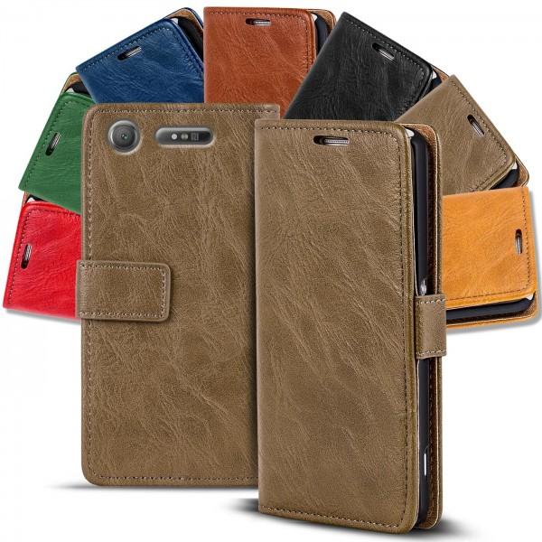 Safers Retro Tasche für Sony Xperia XZ1 Compact Hülle Wallet Case Handyhülle Vintage Slim Cover